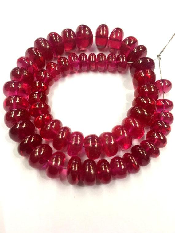Red Corundum Rondelle Faceted Beads 7-8mm Loose Gemstone Beads 18 Strand Superb Quality Corundum String Jewelry Making Beads