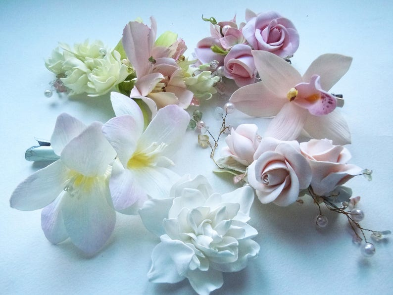 Bridal Floral Hair piece Wedding Flower Hair clip Flower Girl Head piece Real Touch Flower for hair bride  White Flower hair clip girl