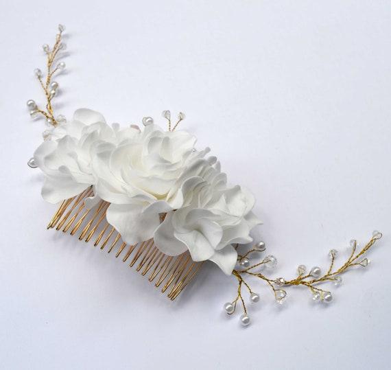 Gardenias Bridal Floral Hair Clip bride Gardenia Flower Hairpiece Wedding Flower Fascinator Ivory  Flower Hair Clip Floral Hair Combs