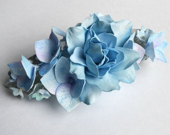Blue Flower Hair clip Bridal Hair piece Gardenia Real Touch Flowers Hair Bride Floral Moonstone Crystal Pearl Barrette  Bridesmaid Jewelry