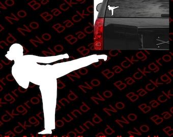 Karate Girl Gal Side Kick Die Cut No Background Vinyl Sticker Car Window Decal Chinese Kung Fu Martial Art Fight Karate Dragon MMA SP017