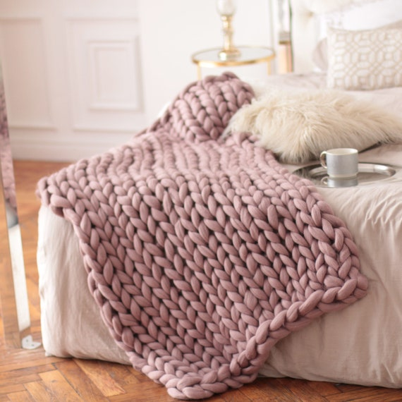 Charmant Chunky Knit Blankets Pink Chunky Knit Throws Oversize Chunky | Etsy