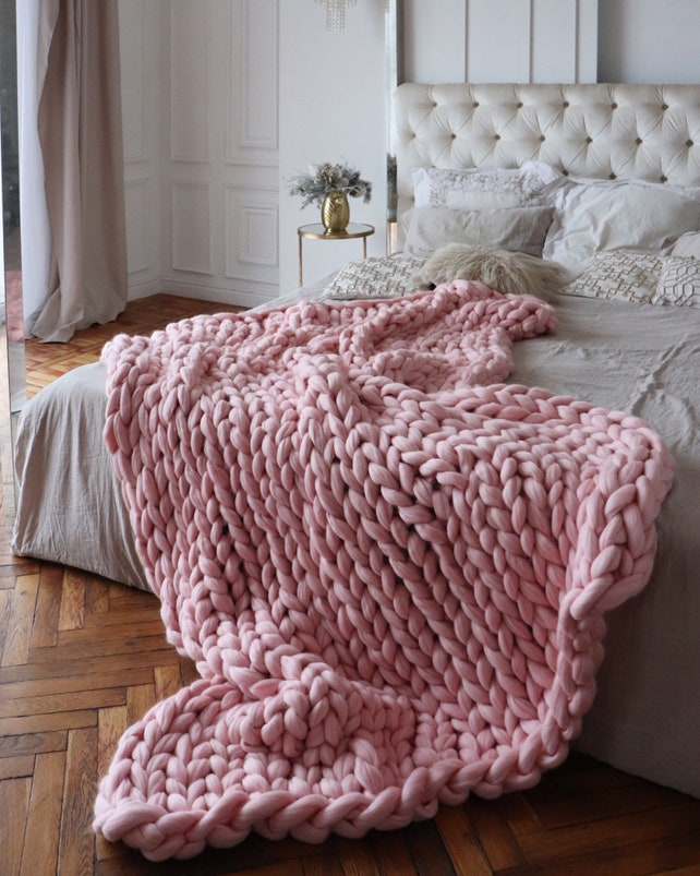 Blush Pink Throw Blanket New Blush Chunky Knit Blanket Chunky Knit Throw Merino Wool Etsy