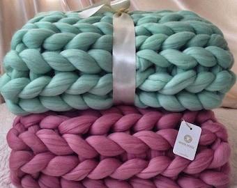 Chunky Knit Blanket, Home, Chunky Blanket, Knit Weighted Blanket, Big Knit Blanket, Weighted Blanket, Throw Blanket, Merino Wool Blanket
