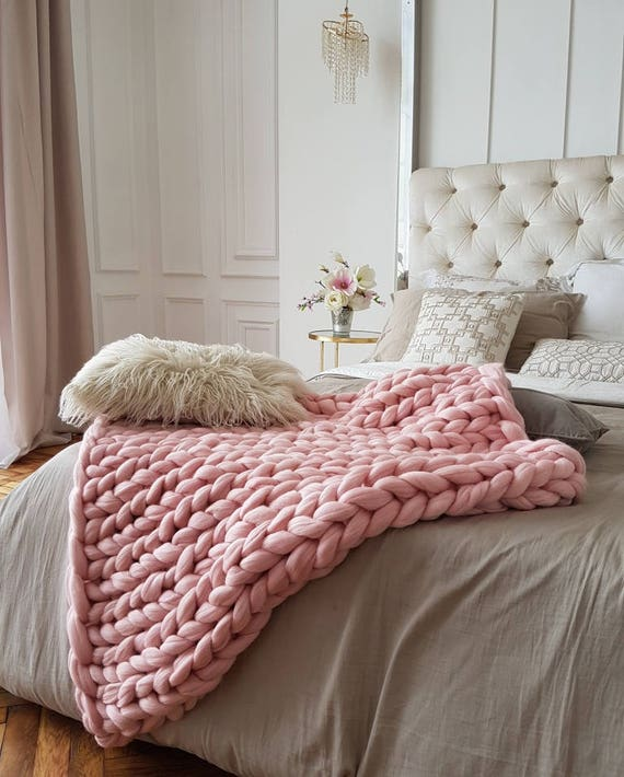 Blush Knit Blanket Merino Wool Blanket Chunky Knit Throw Etsy Amazing Blush Pink Throw Blanket