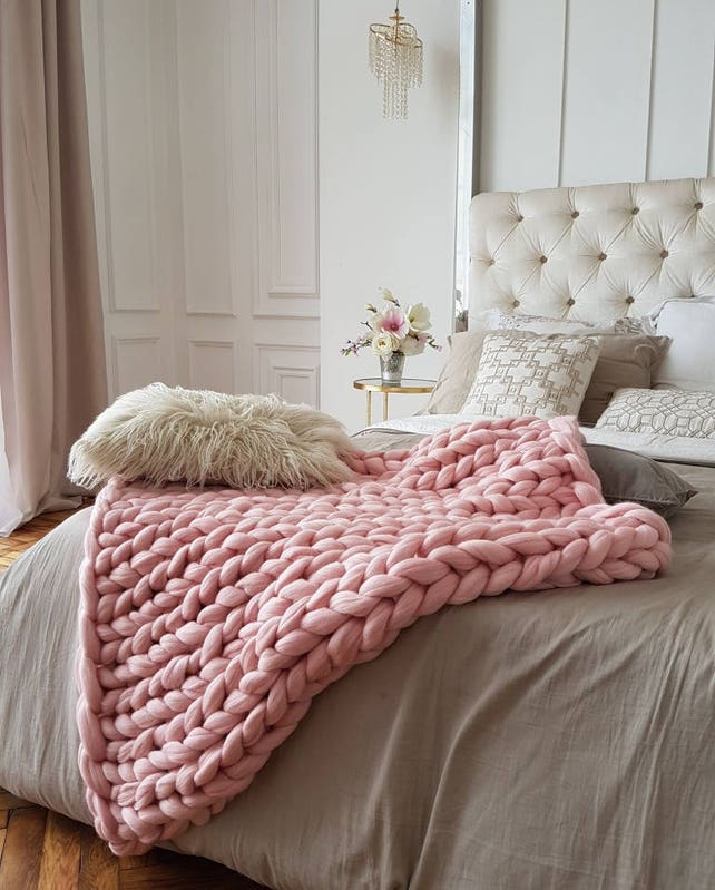 Blush Pink Throw Blanket Extraordinary Blush Chunky Knit Blanket Merino Wool Blanket Chunky Knit Etsy