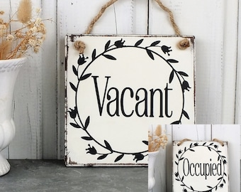 Lovely Decorative Handcrafted Wooden sign ENGAGED White on Pale Gray VACANT