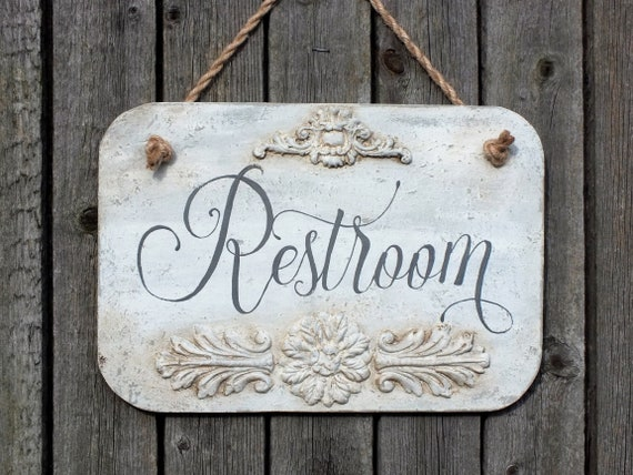 VINTAGE STYLE METAL WALL DOOR SIGN PLAQUE SHABBY CHIC BATHROOM PICTURE DECOR MUM
