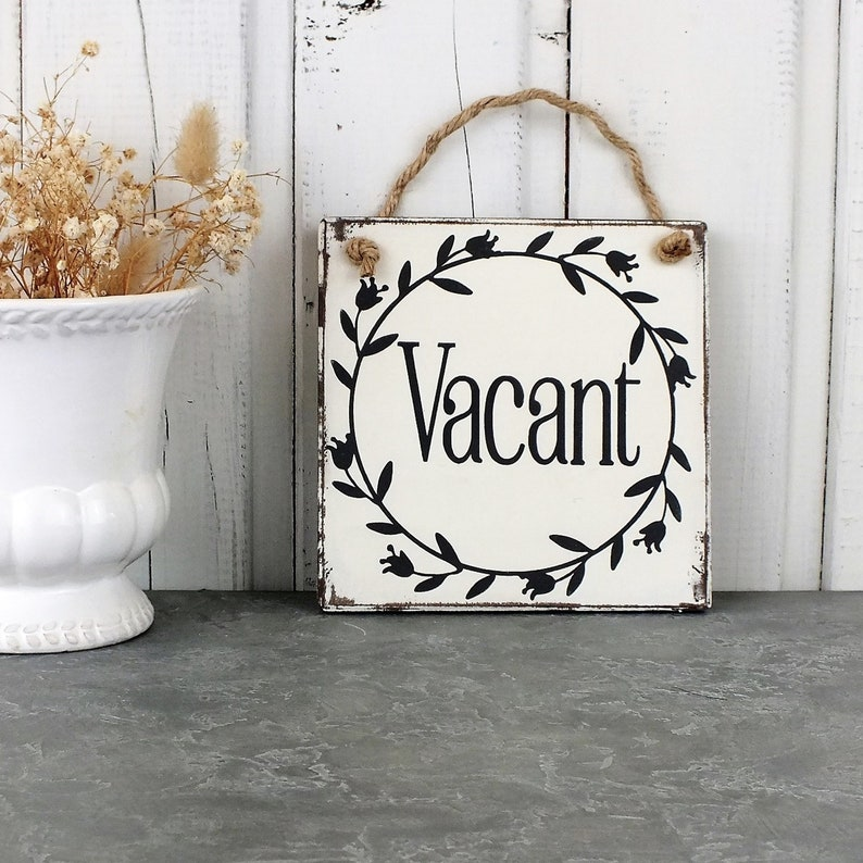 Occupied Vacant guest bathroom door sign Vintage Farmhouse ...