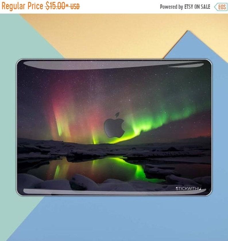 Aurora macbook decal galaxy macbook sticker stars macbook skin green MacBook Sticker Cover macbook pro skin macbook   Northern Lights MS 149