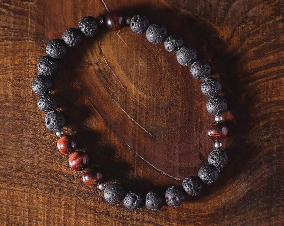 Mens bracelet lava stones and Tiger eye and 5ml essential oil (Lavender or orange) (with Purolator 2 days delivery)