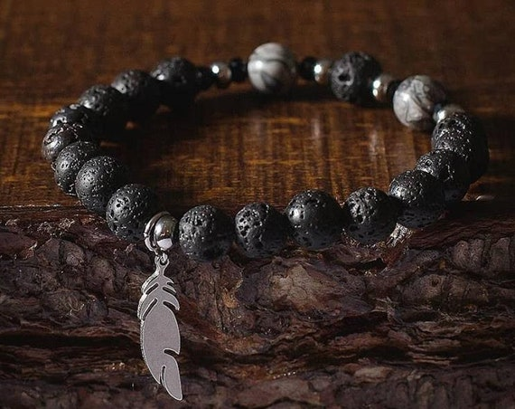 Lava stones, grey and black Jasper and black charm with Crystal and bracelet 5 ml essential oil (Purolator shipping 2 days)