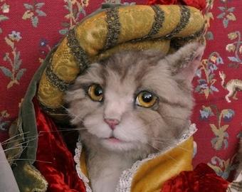 "Anthropomorphic Art Dressed Humanized Medieval Renaissance Cat ""Benedict"" Soft Sculpture Doll"
