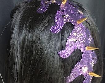Spine headpiece tail spikes metal gold amethyst purple