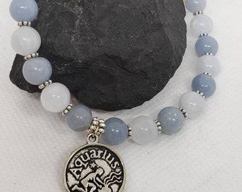 OgZ DeZigns, Zodiac, Astrology, Aquarius Healing Bracelet, Zodiac Bracelet, Astrology Bracelet, Aquarius Bracelet, Moonstone, Fluorite