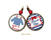Earrings Made in France blue sailor and red stripes sleepy couture