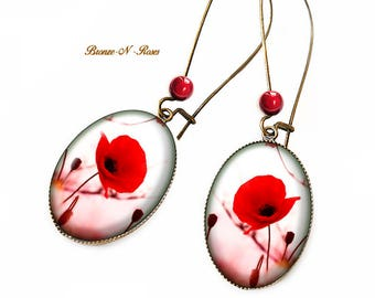 Earrings pretty poppy bronze glass cabochon flower