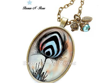Necklace * peacock blue feather * accessory bronze glass cabochon
