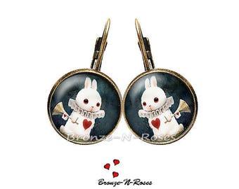 Earrings * White Rabbit * setting girl costume jewelry