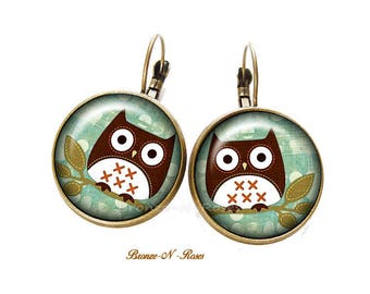 Earrings cabochon birds bronze OWL leather owls earrings Christmas gift