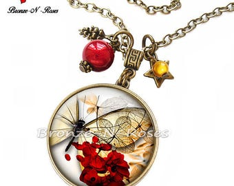 """Cabochon red bronze leaf necklace """"Mystic"""" Papillon"""""""