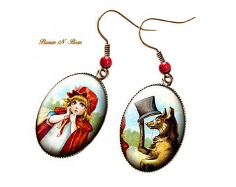 Earrings little Red Riding Hood and Wolf * setting retro vintage glass
