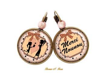 Earrings * thank you for nanny * pink sleeper bronze glass nanny gift