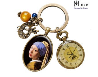 Key ring the girl with a Pearl gem cabochon Johannes Vermeer painting