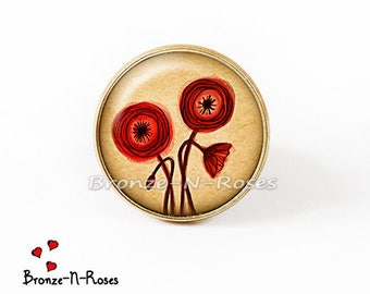 Ring ° ° red poppies nature yellow flower gem cabochon