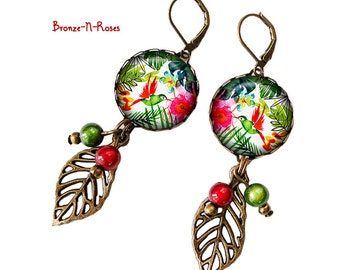 Flower Earrings tropical birds gift red green costume jewelry