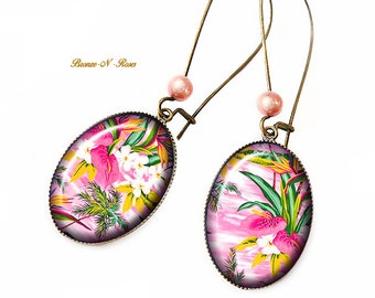 Pink flowers earrings tropical gem cabochon birthday gift