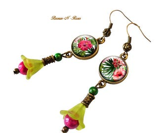 Earrings * tropical flowers * gift pink green costume jewelry