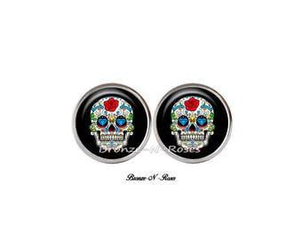 Mexican skull cabochon steel stud earrings stainless skull