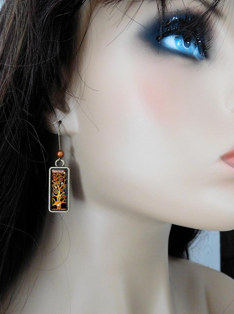 Klimt L Arbre De Vie Tableau boucles d'oreilles rectangulaire arbre de vie gustav klimt peinture retro  tableau rectangle