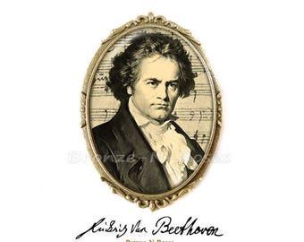 """Music"" cabochon pin retro vintage Ludwig van Beethoven glass"