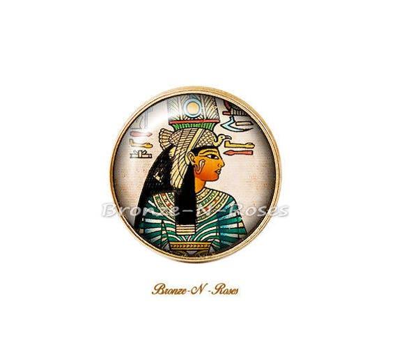 Boucles doreilles Voyage en /Égypte cabochon r/étro bronze pharaon verre dormeuses
