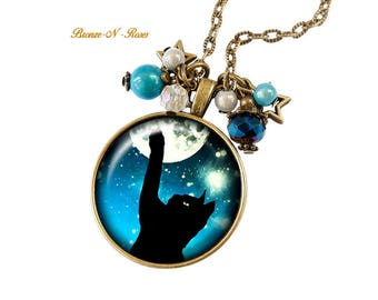 Cat in the Moonlight blue glass cabochon bronze necklace
