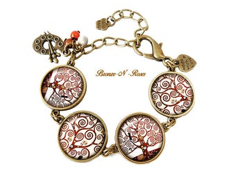 Tree of life bracelet spirals cabochon bronze gustav Klimt reproduction