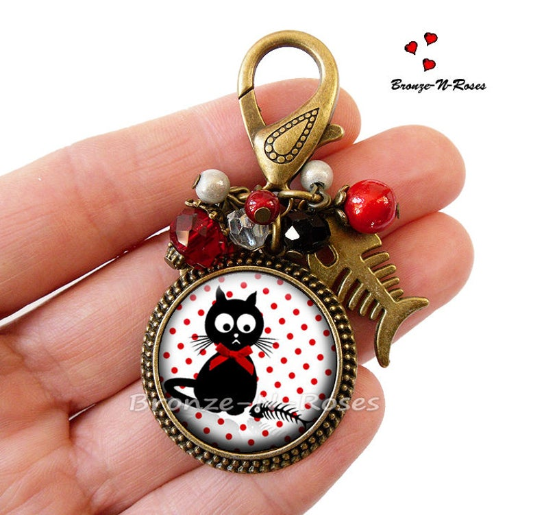 Jewel bag The cat and the fish cabochon fancy jewel red peas