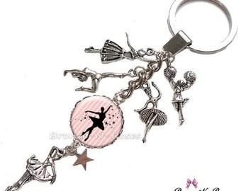 "Keyring ""like a star"" Silver charm dancer dance verrefille cabochon"