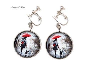 Clip earrings * red umbrella * silver glass cabochon