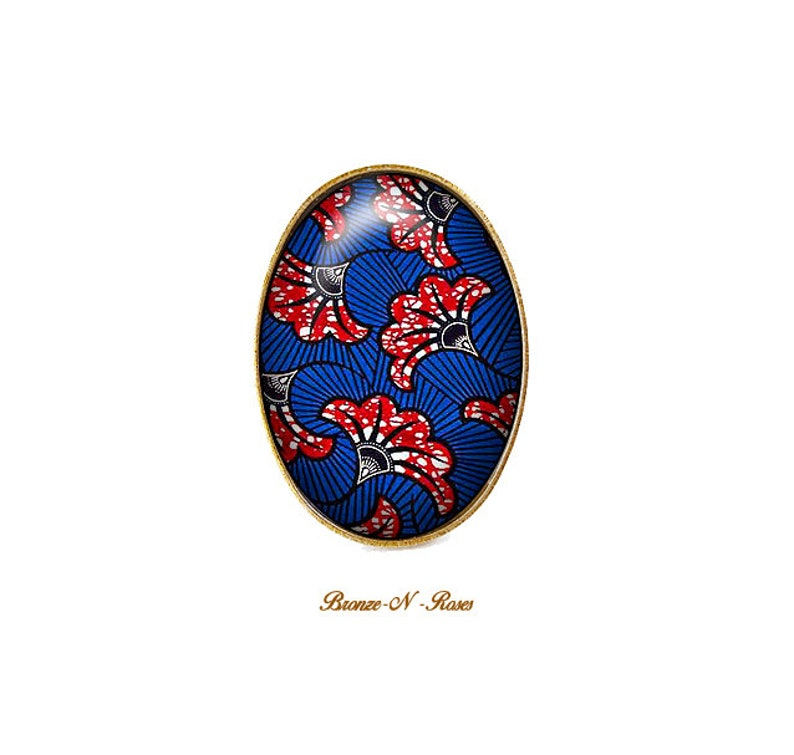 Blue and Red jewel wax ring cabochon ethnic African woman