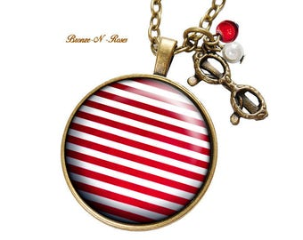 Necklace * striped * red white stripes glass cabochon bronze