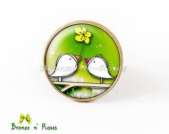 """""""A flower for you"""" ring cabochon green bird lover yellow glass"""
