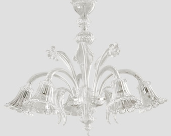 Adone Murano chandelier 5 lights crystal