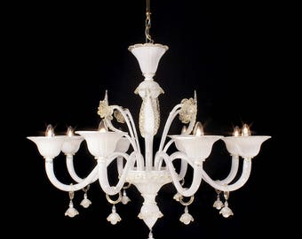 Reale Murano chandelier 8 lights gold white