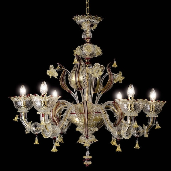 Murano Chandelier Australia: San Marco Murano Chandelier 6 Lights Crystal Gold Ruby