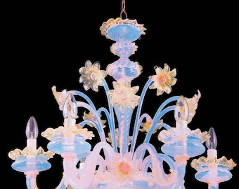 Boston Murano chandelier 6 lights gold pink and opaline