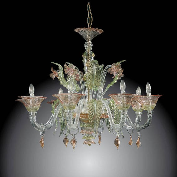 Murano Chandelier Nz: Elegant Murano Glass Chandelier 8 Light Green Pink Gold