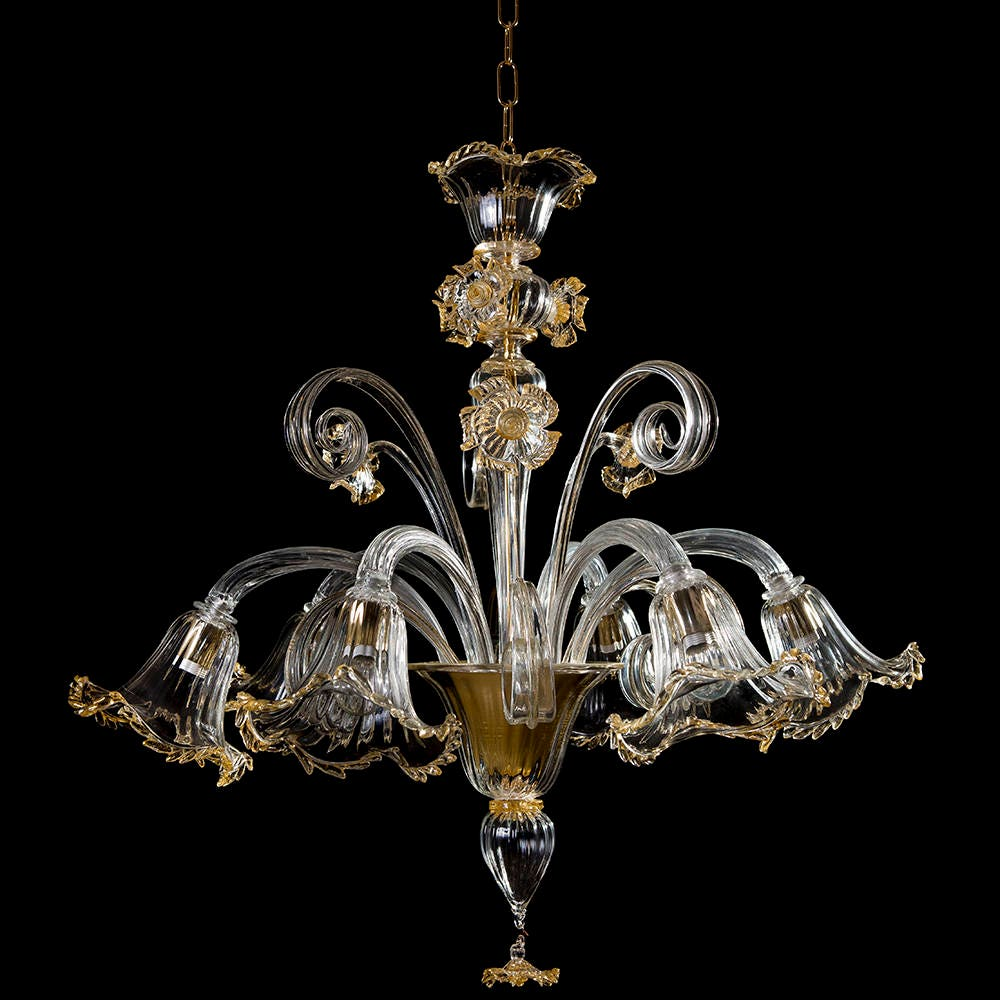 Murano Chandelier Nz: Casino' Murano Chandelier 6 Lights Crystal Gold